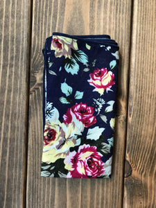 Navy Floral Cotton Pocket Square