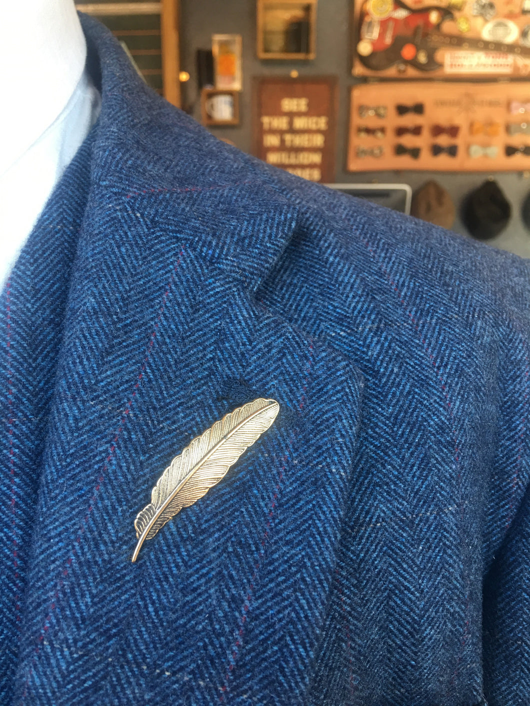 Antique Gold Feather Lapel Pin