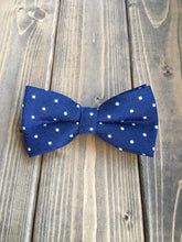 Load image into Gallery viewer, Navy Dot Cotton Bow Tie