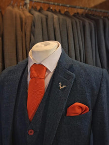 Orange Knitted Pocket Square