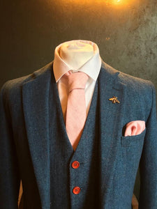 Pale Pink Wool Pocket Square