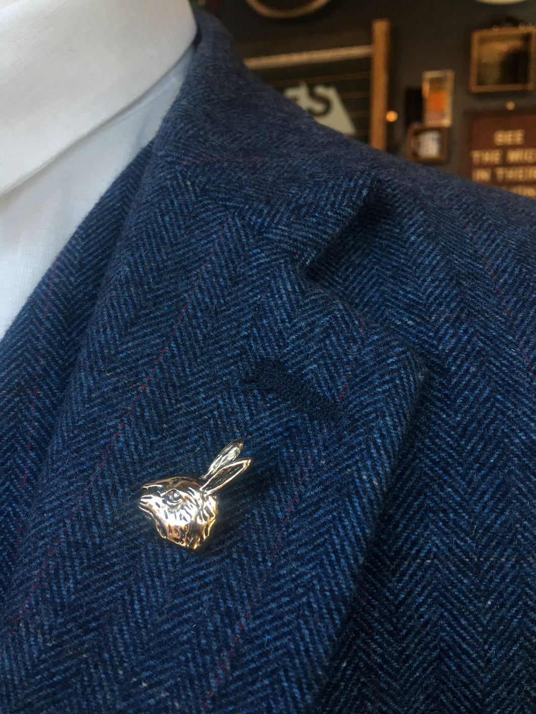 Burnished Gold Hare Lapel Pin
