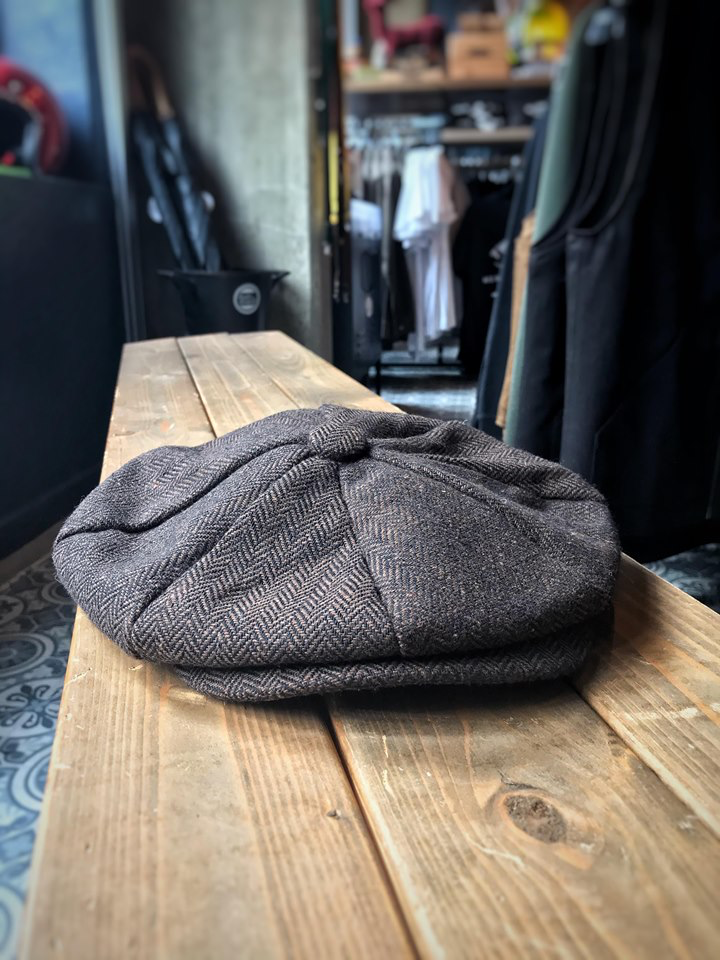 Brown Herringbone Newsboy Hat