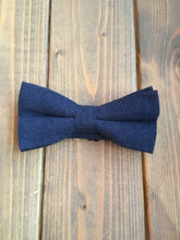 Load image into Gallery viewer, Navy Cotton Bow Tie