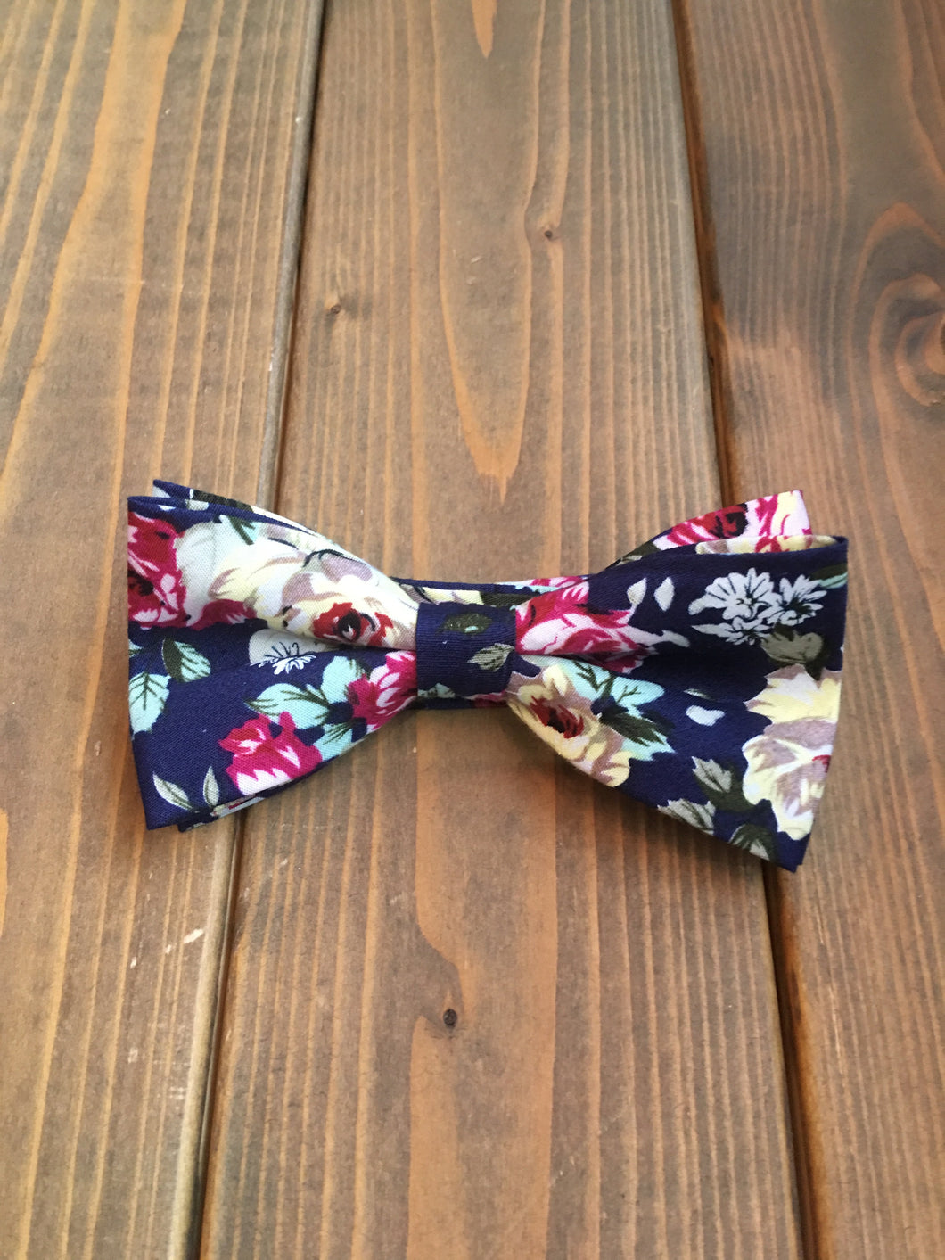 Navy Floral Cotton Bow Tie