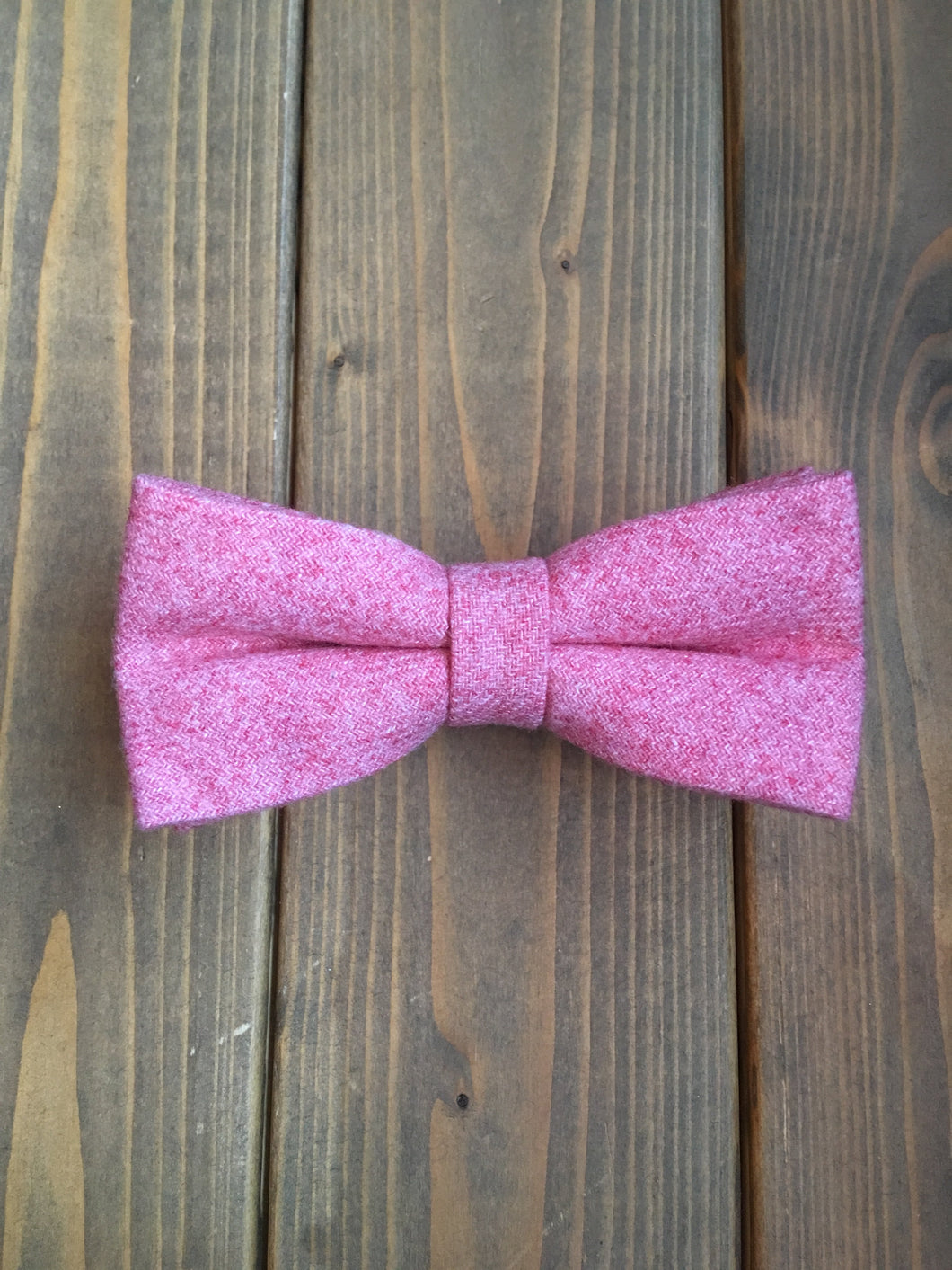 Raspberry Pink Wool Bow Tie