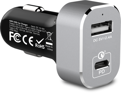 PowerBot® PB511 42W 2-port Type-C PD/USB 3.0 Quick charger High Performance Smart Car Charger