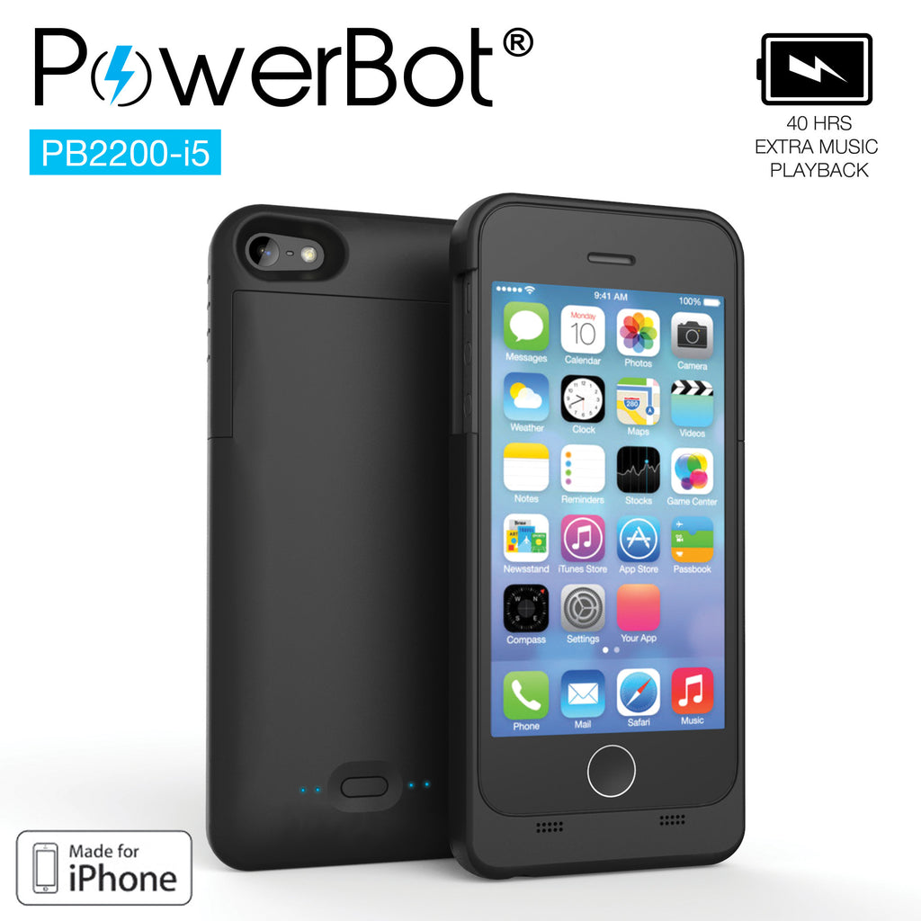 MFi PowerBot® PB2200-i5 Battery Charging Case for iPhone 5 / iPhone 5s for Pokemon Go - SoundBot