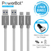 PowerBot® PB303 3-Pack Car Kit Bundle Two 4 Ft USB 3.1 Type-C to USB 3.0 Type A Braided Nylon Cable w/ One PB510 Car Charger - SoundBot