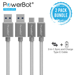 PowerBot® PB303 Data Sync Charge Cable 2-Pack 4 Feet 1.2 Meter 5Gbps High-Speed USB 3.1 Type-C to USB 3.0 Type-A Braided Nylon 2.4A Cable w/ Aluminum Connector for MacBook, Google Nexus 5X 6P, LG G5, Microsoft Lumia 950, HTC - SoundBot