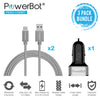 PowerBot® PB303 3-Pack Car Kit Bundle Two 4 Ft USB 3.1 Type-C to USB 3.0 Type A