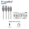 PowerBot® PB303 2PK Data Sync Charge Cable 2-Pack 4 Feet High-Speed USB 3.1 Type-C to USB 3.0 Type-A