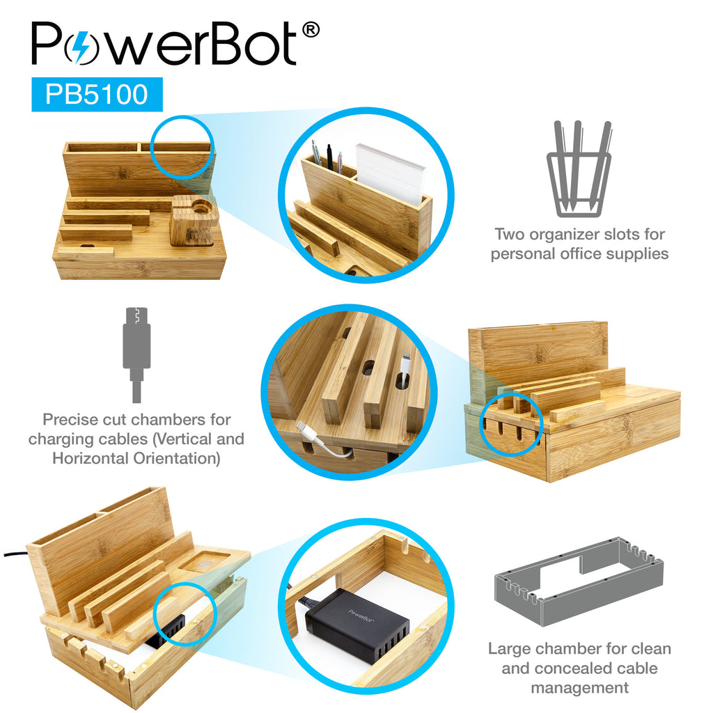 PowerBot® PB5100 Bamboo Multi Charging Station w/ Black 5 Ports USB Desktop Charger