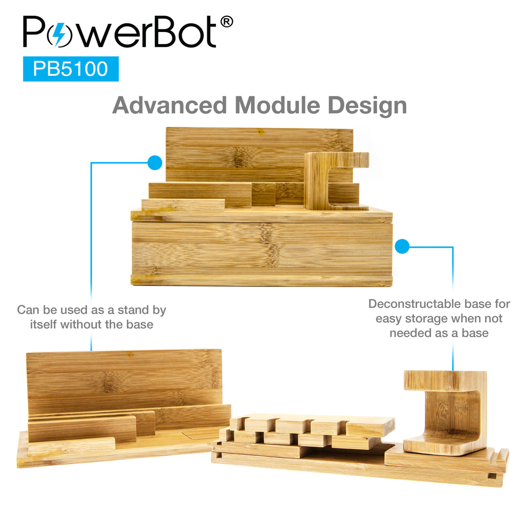 (upgrade) PowerBot® PB5100 Bamboo Multi Charging Station w/ Black 5 Ports USB Desktop Charger