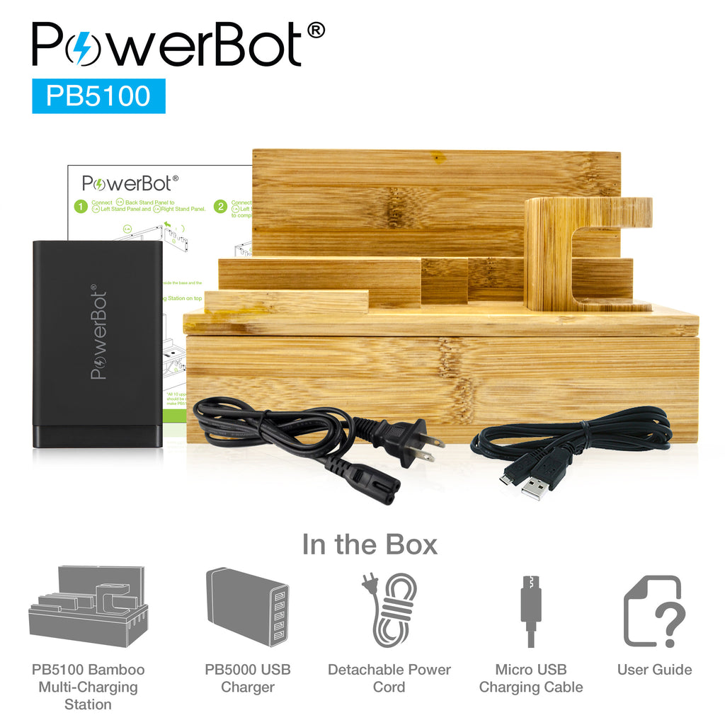 PowerBot® PB5100 Bamboo Multi Charging Station w/ Black 5 Ports USB Desktop Charger - SoundBot