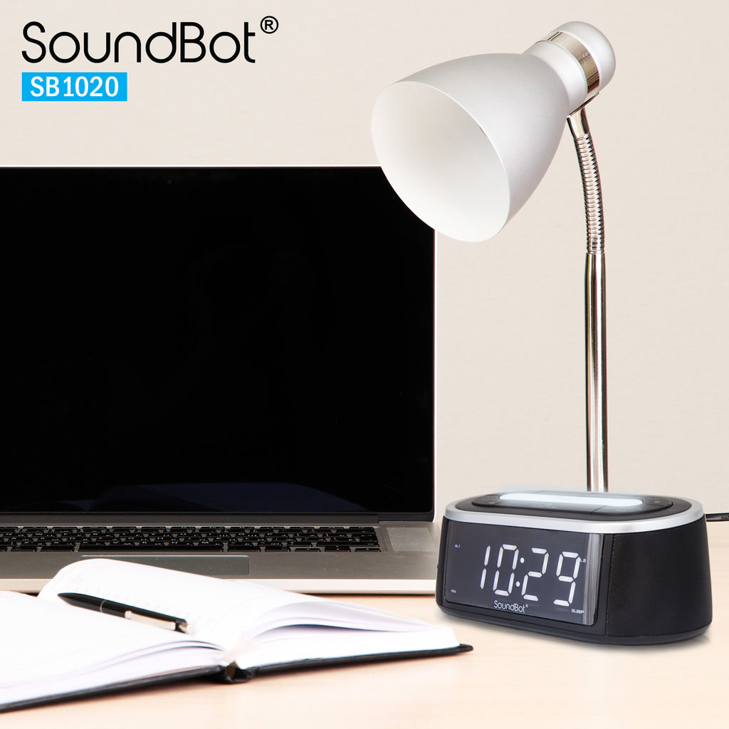 SoundBot® SB1020 Bluetooth Speaker, FM RADIO, Alarm Clock,USB Charging Port,3.5mm AUX, LED Light
