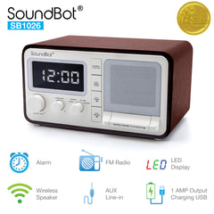 SB1026 Bluetooth Speaker with FM Radio, Alarm Clock, and USB Charging Port