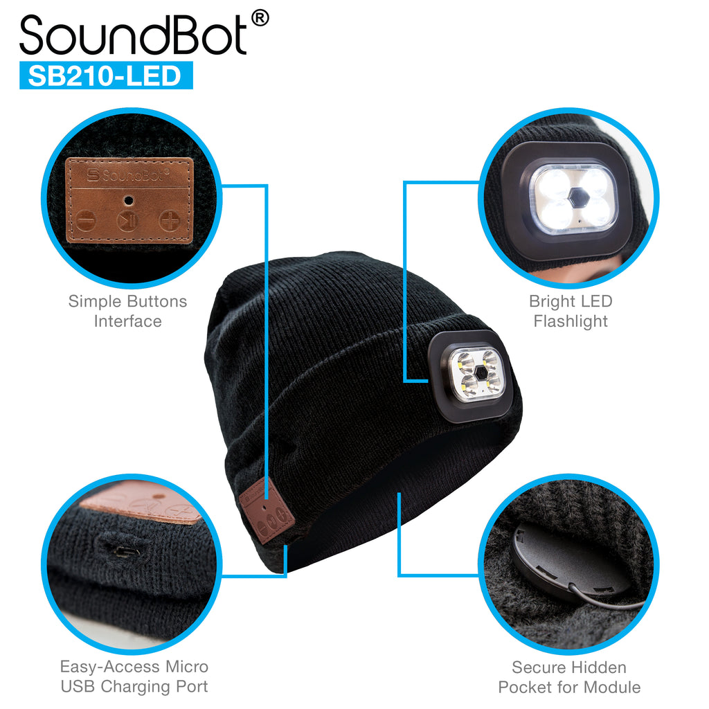 SoundBot® SB210 LED Bluetooth Wireless Musical Headset Beanie