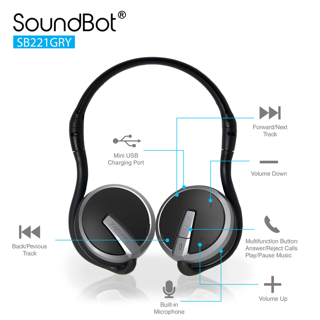 SoundBot® SB221 Bluetooth Headphone Wireless Headset