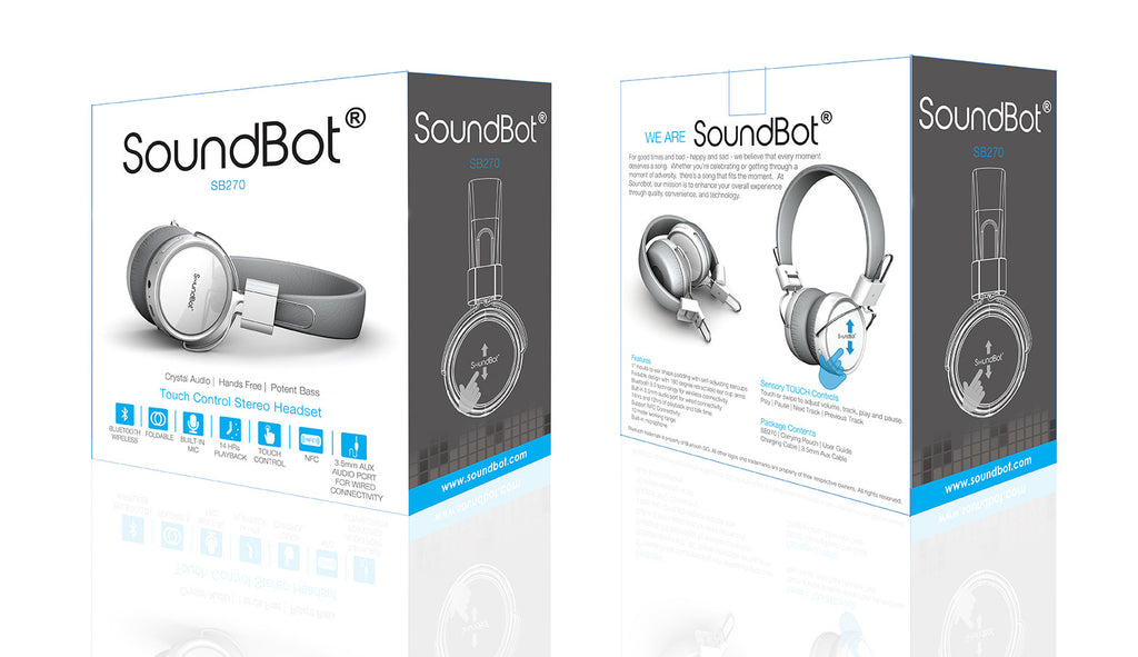 SB270 HD Smart Sensory Touch Control Wireless Headphone - SoundBot