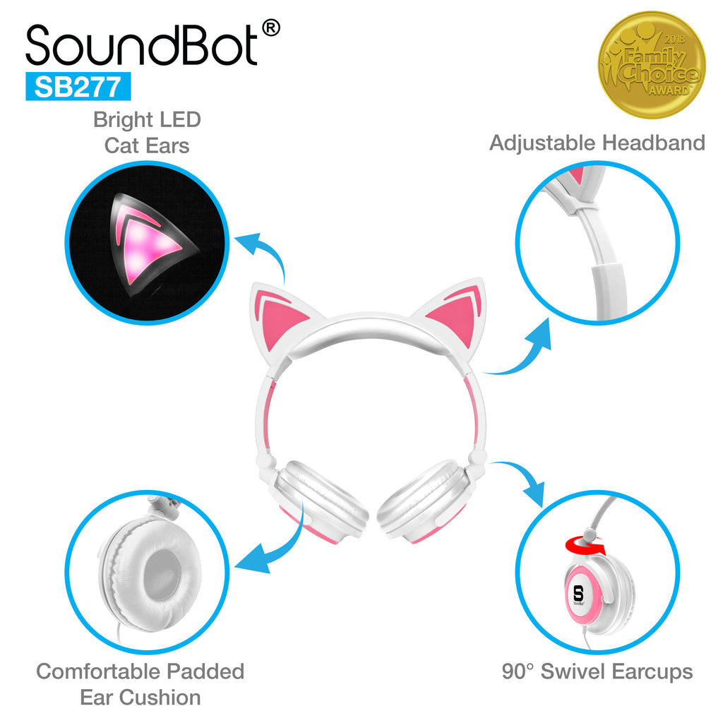 soundbot� sb277 glowing led cat ears headset