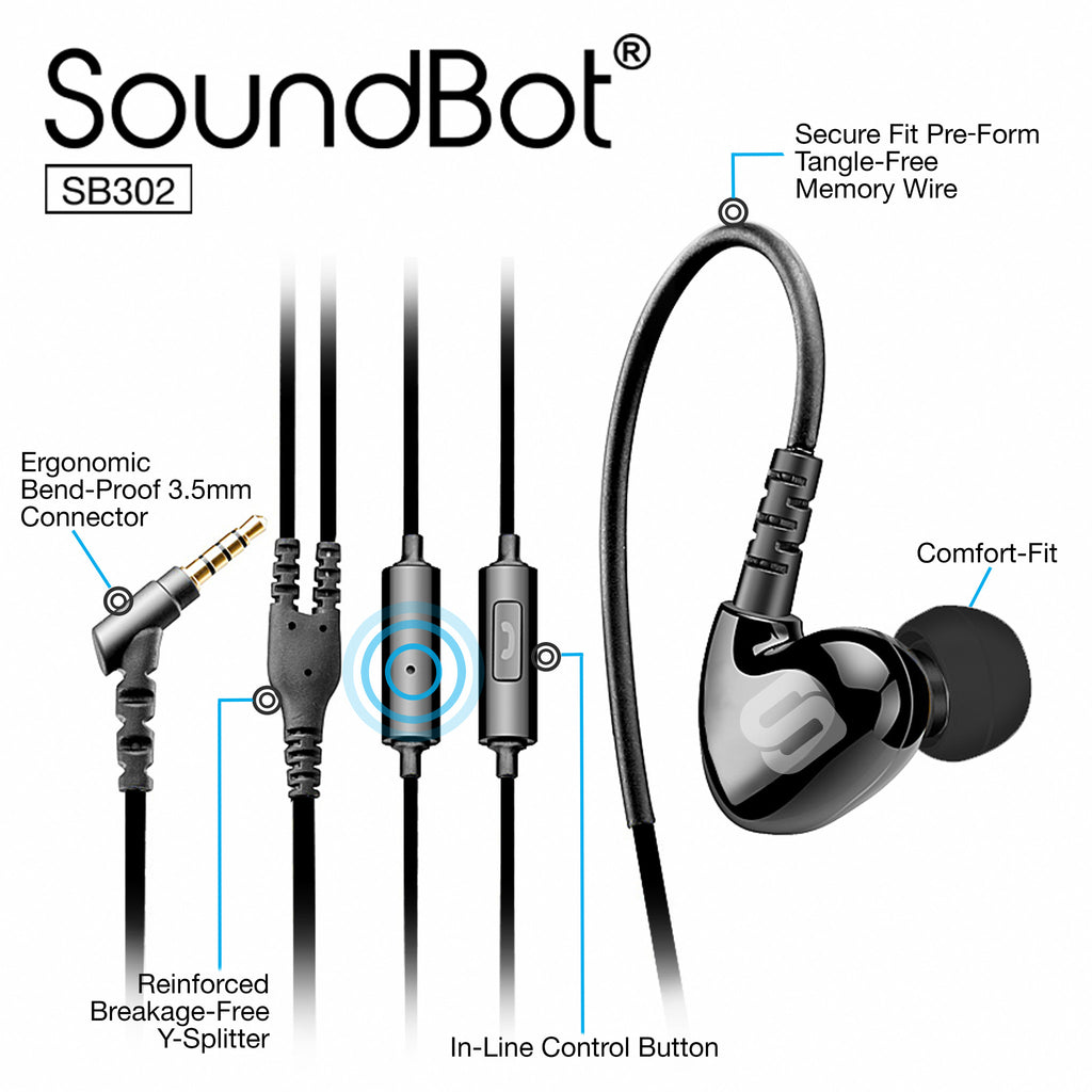 SoundBot® SB302 Secure Fit Sports Active Earphone w/ Memory Frame & Human Engineering Design - SoundBot