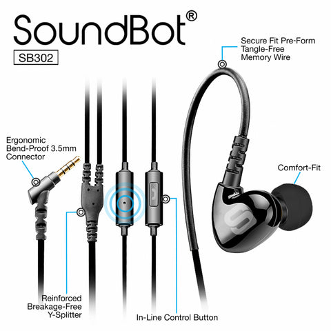 SoundBot® SB302 Secure Fit Sports Active Earphone w/ Memory Frame & Human Engineering Design