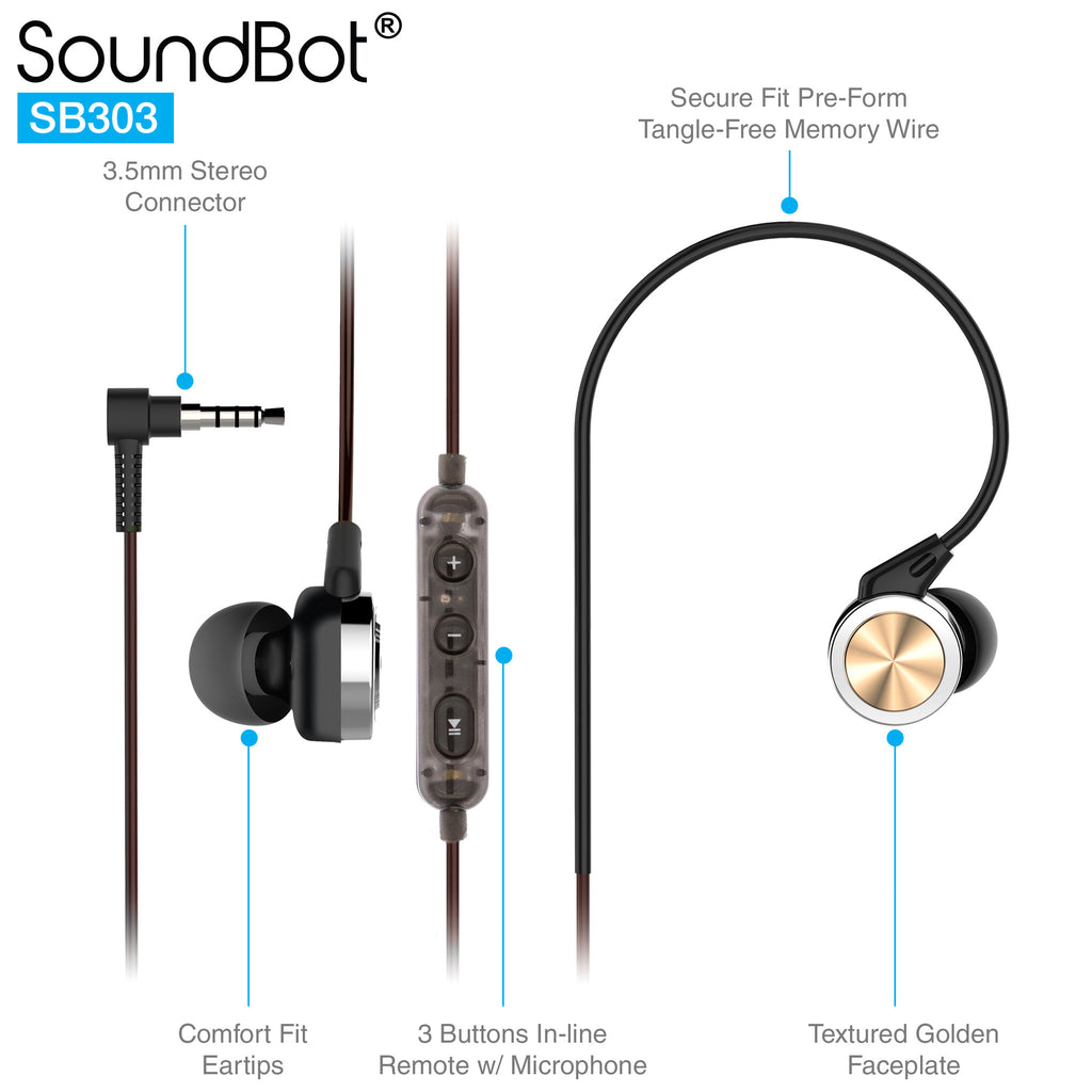 Soundbot Sb303 Secure Fit Sports Active Earphone W Memory Frame