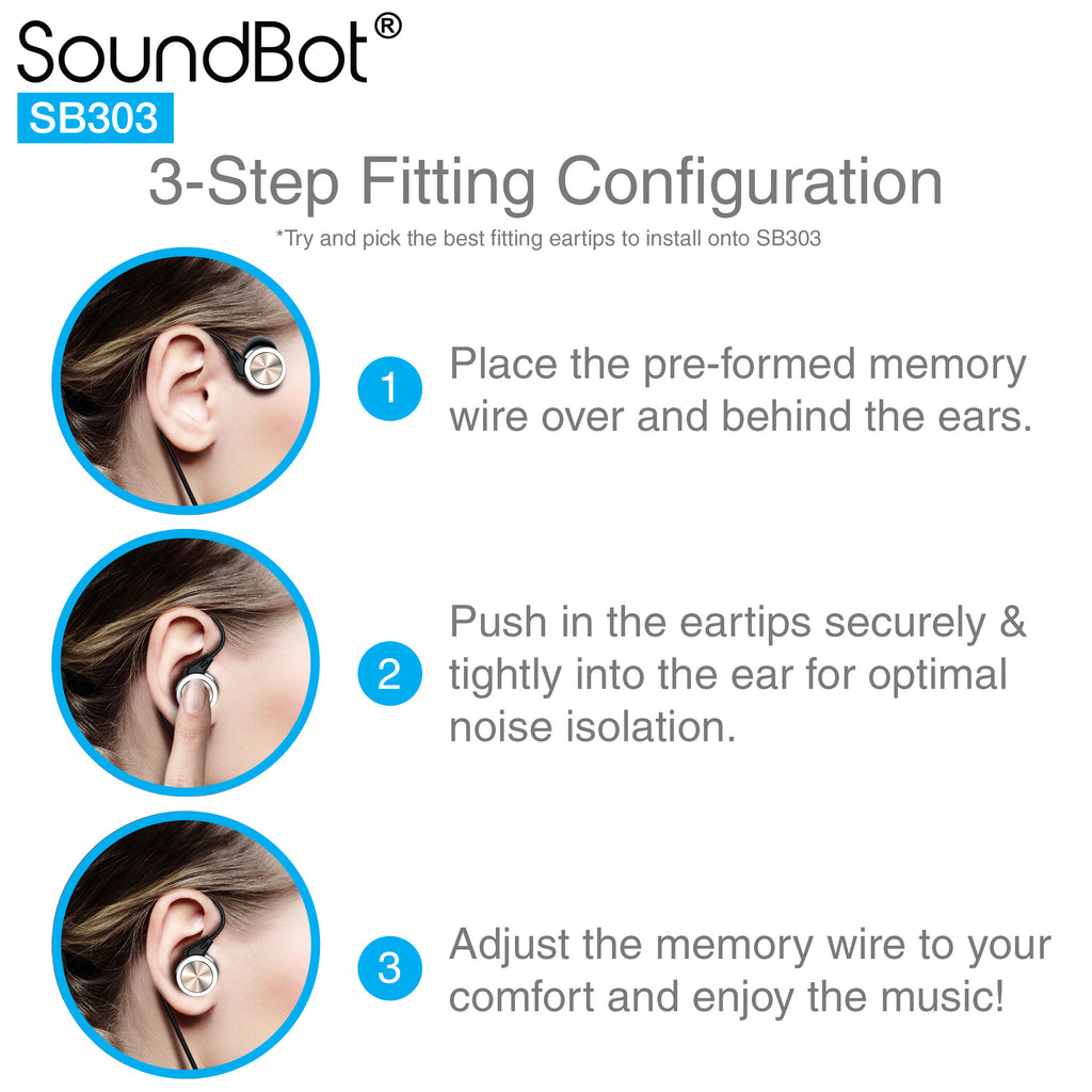 SoundBot® SB303 Secure Fit Sports Active Earphone w/ Memory Frame & Human Engineering Design - SoundBot