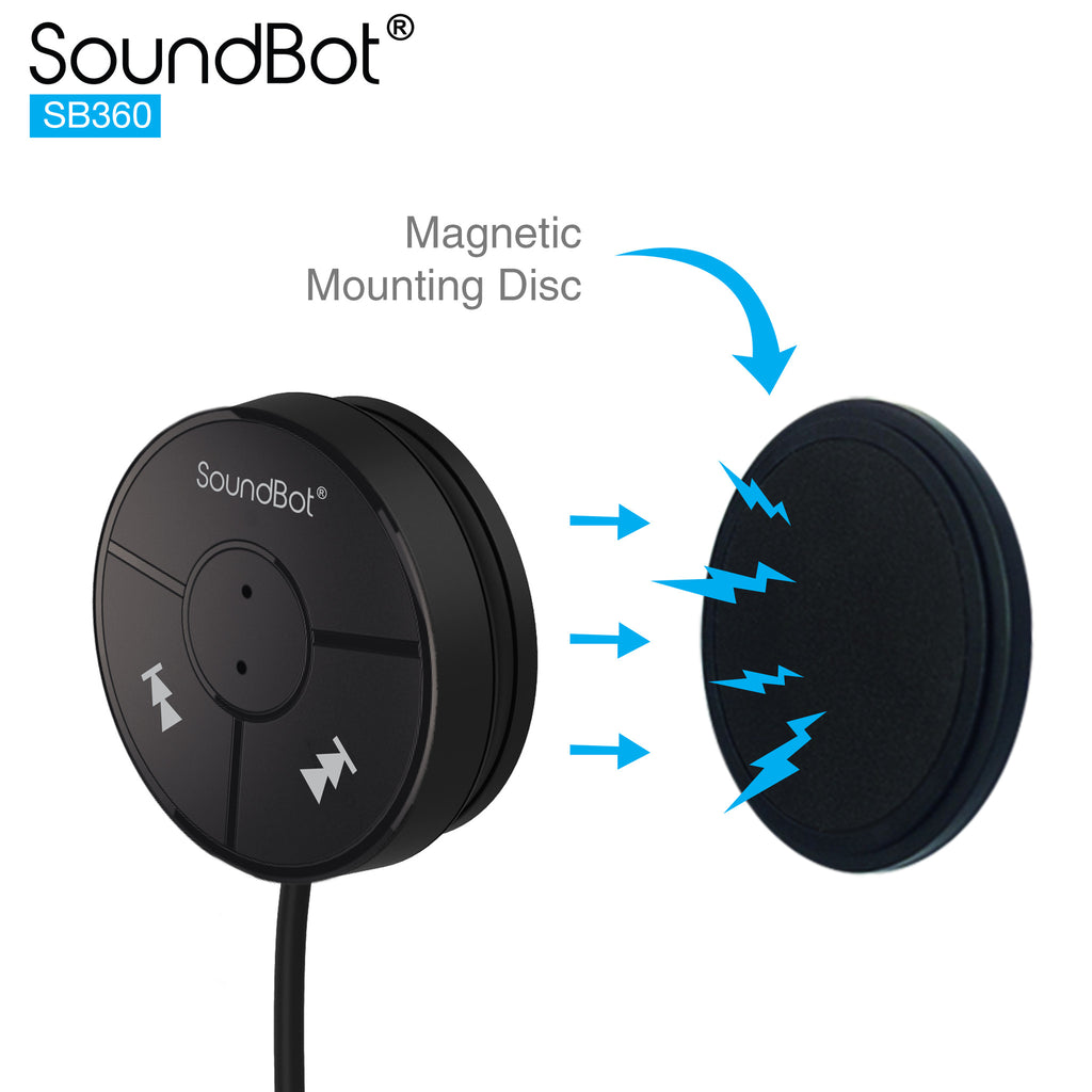 SoundBot SB360 Bluetooth 4.0 Car Kit Hands-Free Wireless Talking /& Music Streaming Dongle w// 10W Dual Port 2.1A USB Charger Built-in 3.5mm Aux Cable Magnetic Mounts