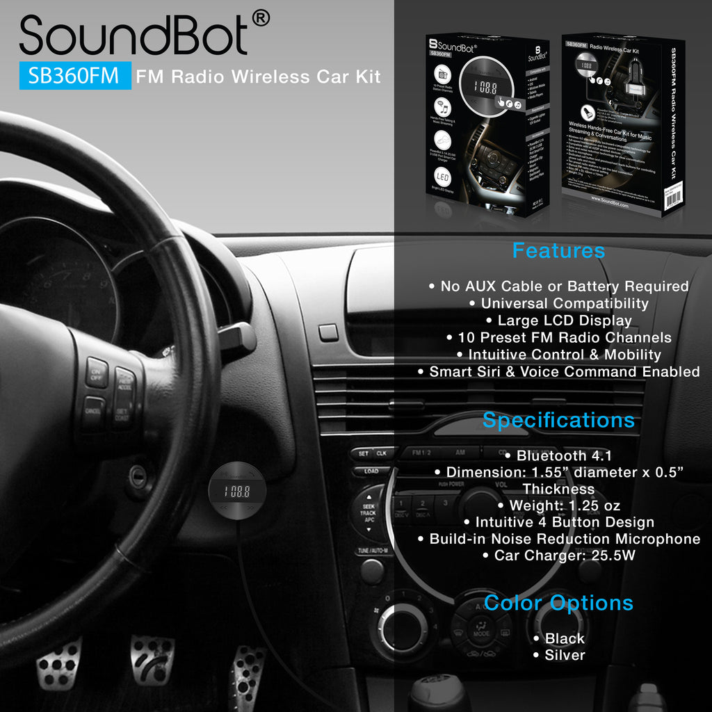 SoundBot SB360FM FM RADIO Transmitter Bluetooth Wireless 4.1 Receiver Car Kit - SoundBot