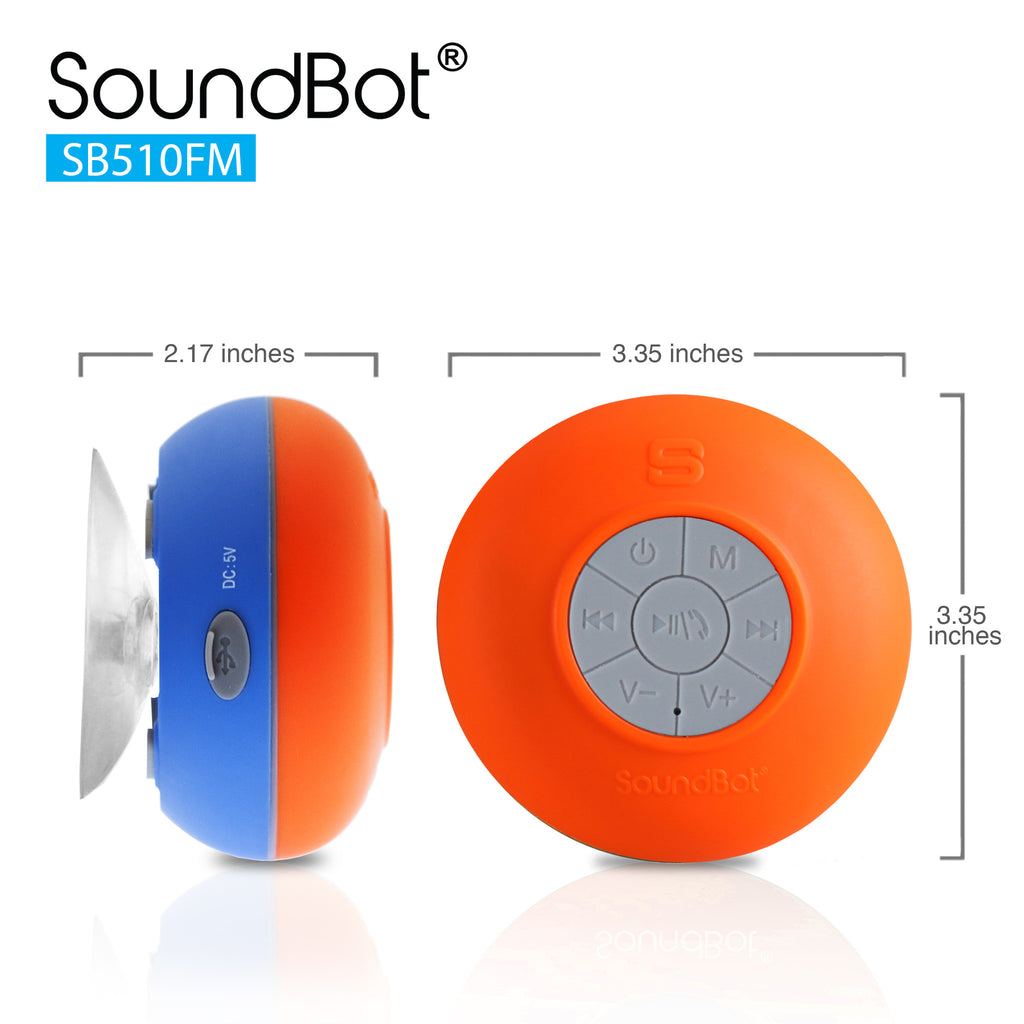 SoundBot® SB510FM FM Radio Shower Speaker Water Resistant Wireless