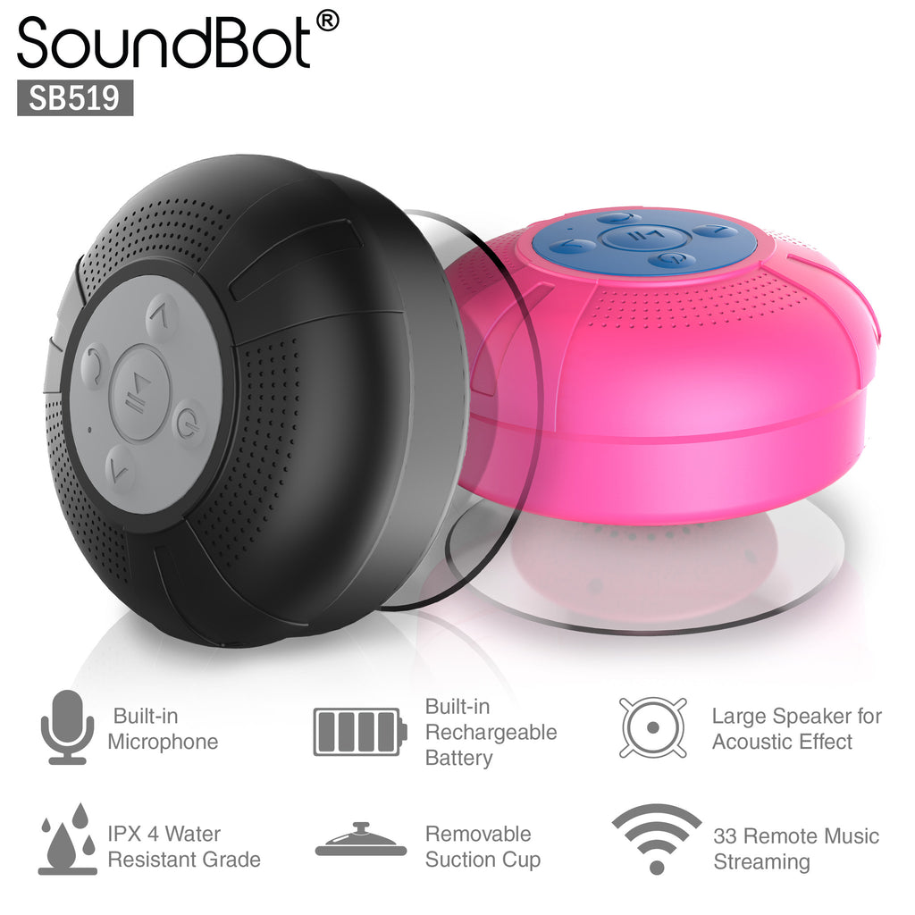 SoundBot® SB519 HD Bluetooth Wireless Shower Speaker Portable Weather Water-Resistant Speakerphone w/ Full Spectrum Music, 6Hrs Streaming & Hands-Free Talking, Built-In Mic, Suction Cup, 33feet Range