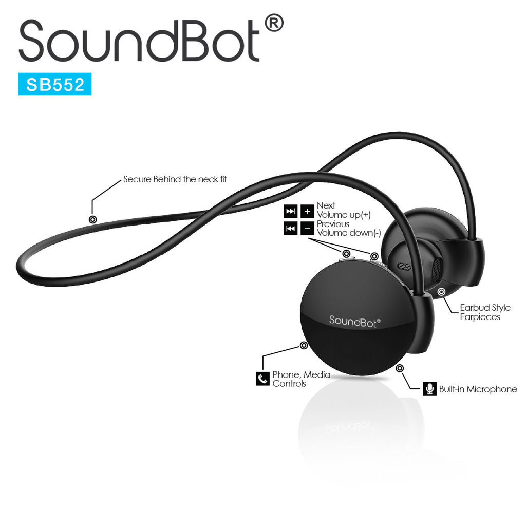 SoundBot® SB552 Behind the Neck Bluetooth Wireless Stereo Headset w ...