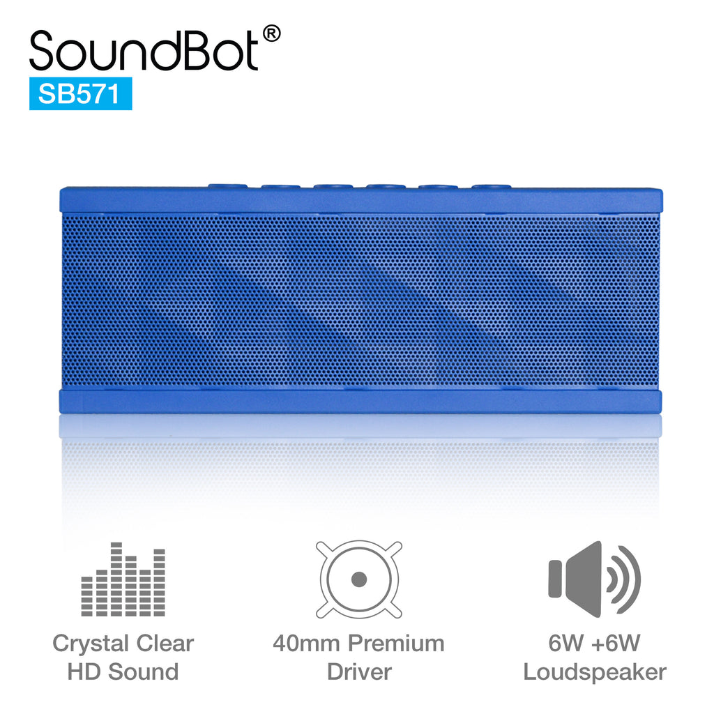 SoundBot SB571 Bluetooth Wireless Speaker 12W Output HD Bass 40mm Dual Driver Portable Speakerphone