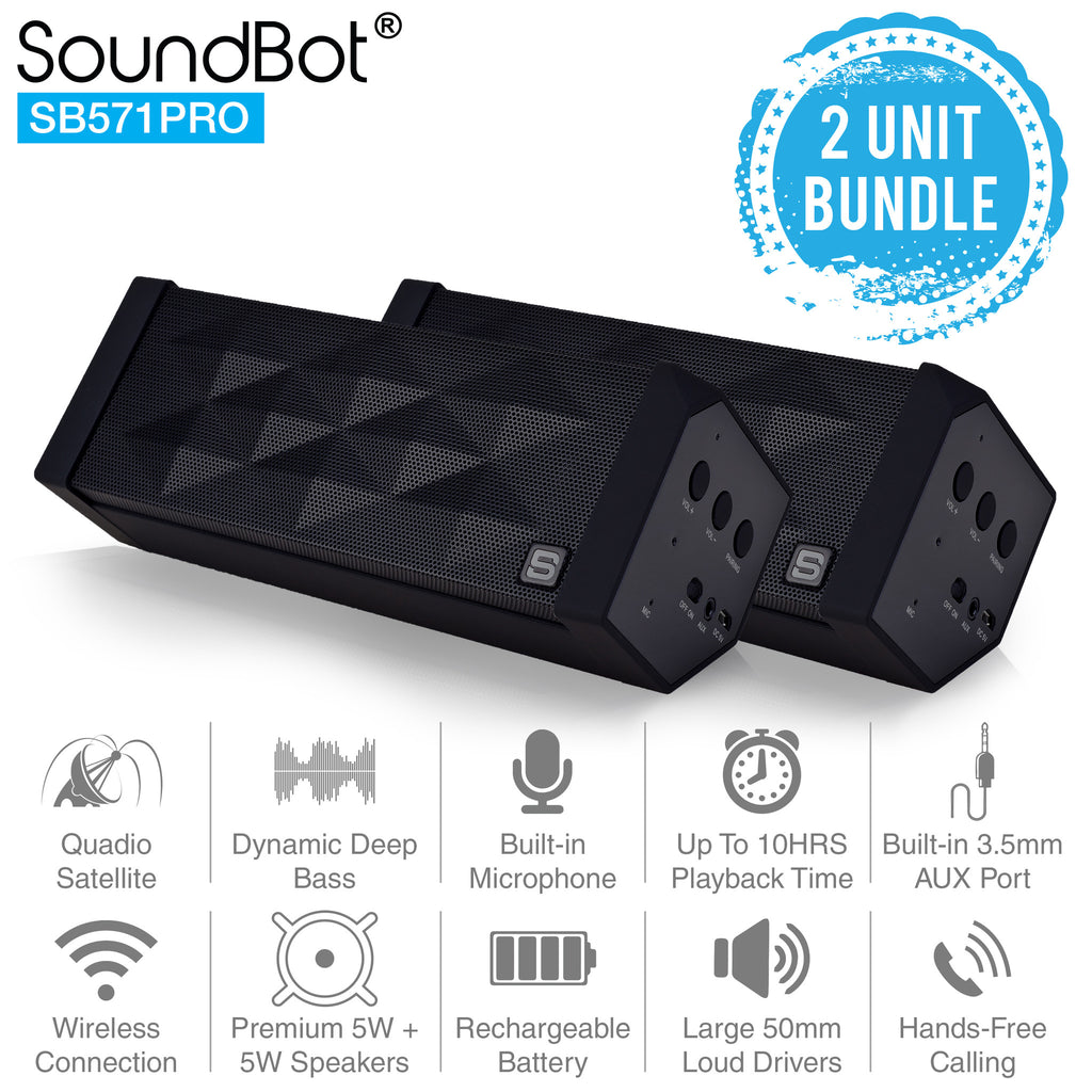 2 UNIT BUNDLE SB571PRO Bluetooth Wireless Speaker w/ Quadio Satellite Technology - SoundBot