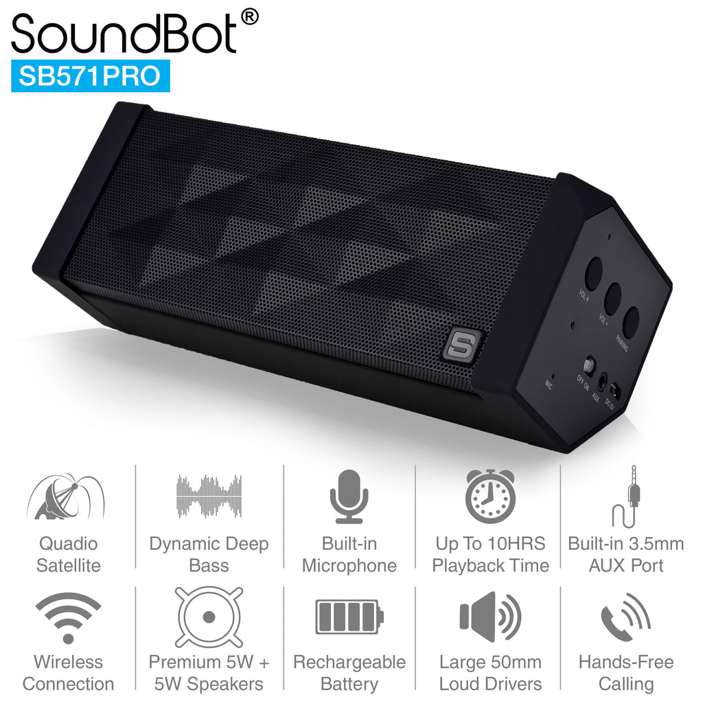 SB571PRO Bluetooth Wireless Speaker w/ Quadio Satellite Technology - SoundBot