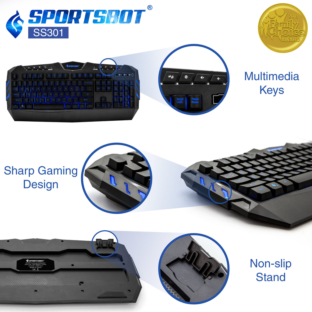f8decbbfcd0 SportsBot® SS301 Blue LED Gaming Over-Ear Headset Headphone, Keyboard &  Mouse Combo