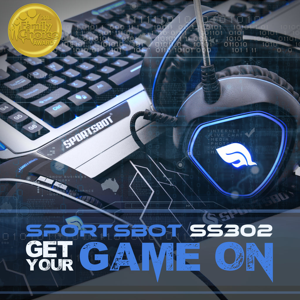SportsBot® SS302 4-in-1 LED Gaming Over-Ear Headset Headphone, Keyboard, Mouse Pad, and Mouse Combo Set