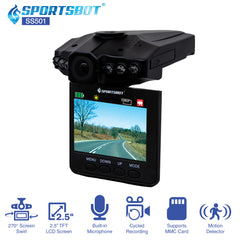 "SportsBot SS501 Car Dash Cam Camera Video DVR Recorder Black Box Camcorder w/ 2.5"" LCD, Motion Detector, Built-in Mic, 6 InfraRed Night Vision, Multi-Language, Loop Recording - SoundBot"