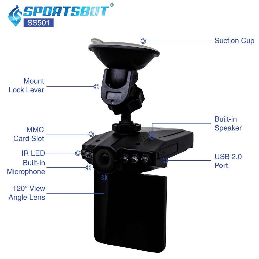 SportsBot SS501 120 Degree Wide Angle Car Dash Cam Camera Video DVR Recorder Black Box Camcorder