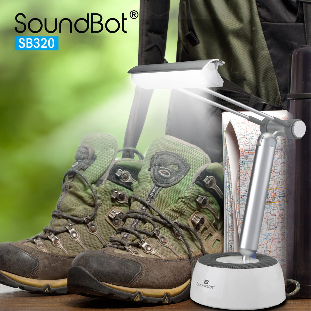 "SounBot SB320 3-In-1 Portable Wireless Bluetooth Speaker, LED Desk Lamp, & Tablet/ Smartphone Stand Holder for Up to 11"" Tablet, Smartphones, & E-Reader - SoundBot"