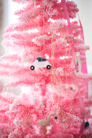 pink car with Christmas tree on top holiday ornament