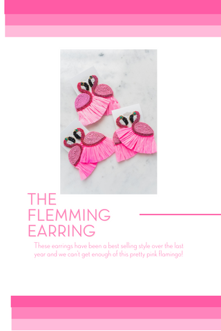 pink bead and raffia flamingo earring