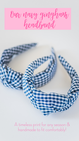 navy blue and white gingham check knotted headband