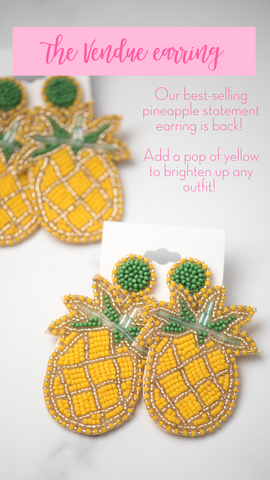 yellow beaded pineapple earring