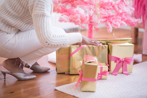 gold and pink wrapped gifts
