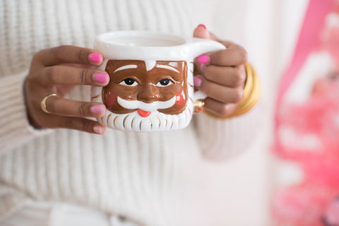 brown skin Santa ceramic coffee mug