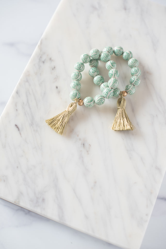 The Barre Tassel Bracelet in Green