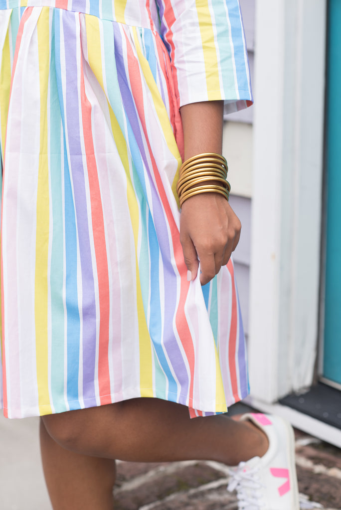 The Edith Dress in Rainbow Striped Brights